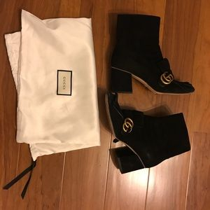 Gucci Black Marmont Fringed Suede Ankle Boots 37EU